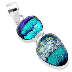 13.66cts multi color dichroic glass 925 sterling silver handmade pendant t1111