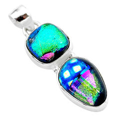 13.13cts multi color dichroic glass 925 sterling silver handmade pendant t1112