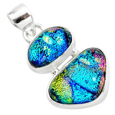 11.59cts multi color dichroic glass 925 sterling silver handmade pendant t1115