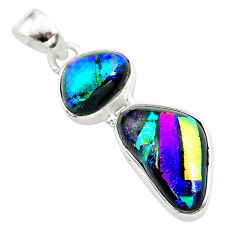 13.51cts multi color dichroic glass 925 sterling silver handmade pendant t1116