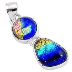 10.76cts multi color dichroic glass 925 sterling silver handmade pendant t1119