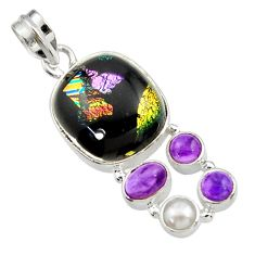 19.25cts multi color dichroic glass amethyst 925 sterling silver pendant d44798