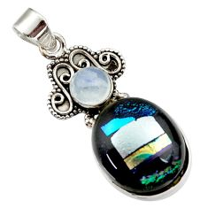 15.55cts multi color dichroic glass moonstone 925 sterling silver pendant d44800