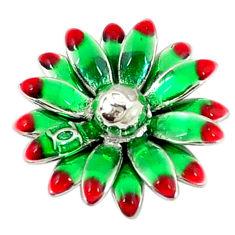 Multi color enamel 925 sterling silver flower pendant jewelry c22702