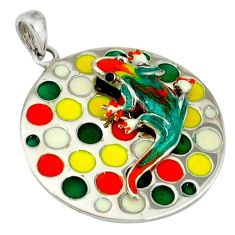 Multi color enamel 925 sterling silver lizard pendant jewelry c16929