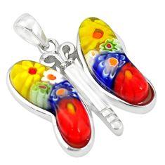 Multi color italian murano glass 925 silver butterfly pendant c21682