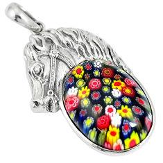 26.38cts multi color italian murano glass 925 silver horse pendant c25721