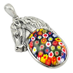 Multi color italian murano glass 925 silver horse pendant jewelry c21620