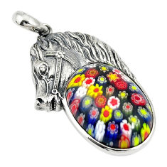 Multi color italian murano glass 925 silver horse pendant jewelry c21629