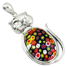 Multi color italian murano glass 925 sterling silver cat pendant c22481