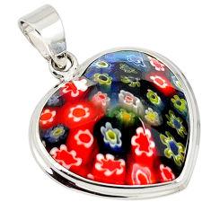 Multi color italian murano glass 925 sterling silver heart pendant c22482