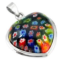 Multi color italian murano glass 925 sterling silver heart pendant c22497