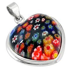 Multi color italian murano glass 925 sterling silver heart pendant c22498