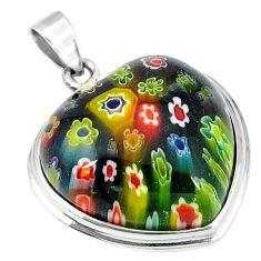Multi color italian murano glass 925 sterling silver heart pendant c22500