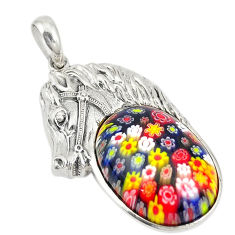 Multi color italian murano glass 925 sterling silver horse pendant c21631