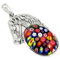 Multi color italian murano glass 925 sterling silver horse pendant c22479