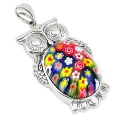 Multi color italian murano glass 925 sterling silver owl pendant c21634