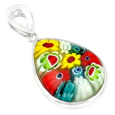 Multi color italian murano glass 925 sterling silver pendant c21693
