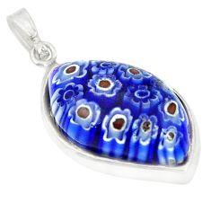 Multi color italian murano glass 925 sterling silver pendant c21748