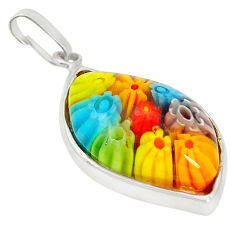 Multi color italian murano glass 925 sterling silver pendant c21758