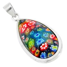 14.72cts multi color italian murano glass 925 sterling silver pendant c25736