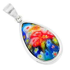 14.23cts multi color italian murano glass 925 sterling silver pendant c25740