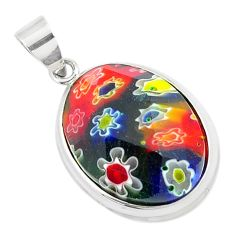 12.15cts multi color italian murano glass 925 sterling silver pendant c25764