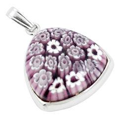 Multi color italian murano glass 925 sterling silver pendant c25769