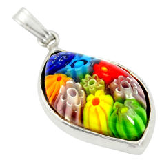Multi color italian murano glass 925 sterling silver pendant c25799