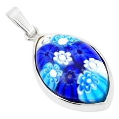 Multi color italian murano glass 925 sterling silver pendant c25818