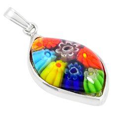 Multi color italian murano glass 925 sterling silver pendant jewelry c25781