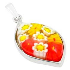 Multi color italian murano glass 925 sterling silver pendant jewelry c25793