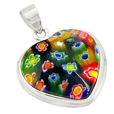 Multi color italian murano glass heart 925 sterling silver pendant c21609