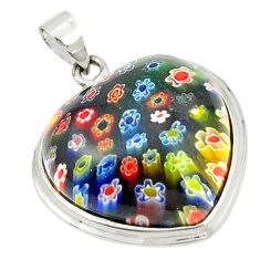 Multi color italian murano glass heart 925 sterling silver pendant c21615