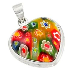 Multi color italian murano glass heart 925 sterling silver pendant c21617