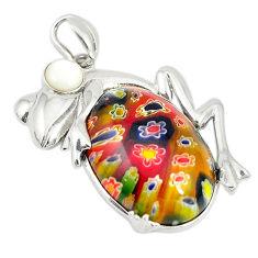Multi color italian murano glass pearl 925 silver frog pendant c21630