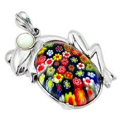 Multi color italian murano glass pearl 925 silver frog pendant c22544