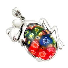 Multi color italian murano glass pearl 925 silver frog pendant jewelry c21638