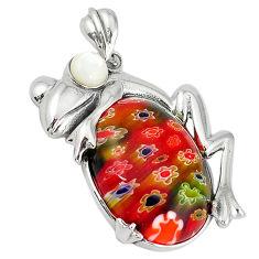 Multi color italian murano glass pearl 925 silver frog pendant jewelry c22535