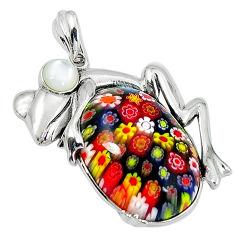 Multi color italian murano glass pearl 925 silver frog pendant jewelry c22539