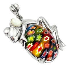 Multi color italian murano glass pearl 925 silver frog pendant jewelry c22541