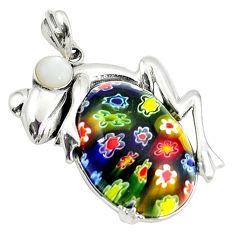 Multi color italian murano glass pearl 925 silver frog pendant jewelry c22545
