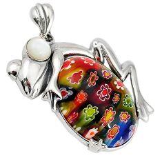 Multi color italian murano glass pearl 925 silver frog pendant jewelry c22548