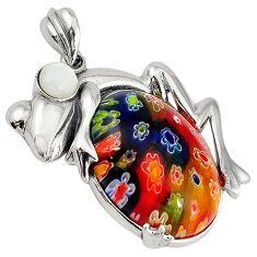 Multi color italian murano glass pearl 925 silver frog pendant jewelry c22549