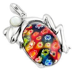 Multi color italian murano glass pearl 925 silver frog pendant jewelry c22554