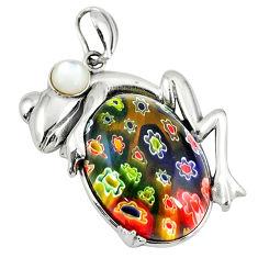 Multi color italian murano glass pearl 925 silver frog pendant jewelry c22555