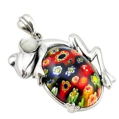 Multi color italian murano glass pearl 925 sterling silver frog pendant c21626