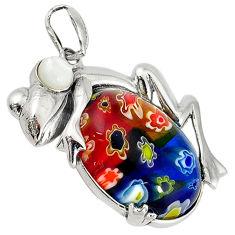 Multi color italian murano glass pearl 925 sterling silver frog pendant c22527