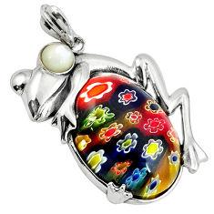 Multi color italian murano glass pearl 925 sterling silver frog pendant c22547