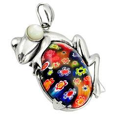 Multi color italian murano glass pearl 925 sterling silver frog pendant c22560
